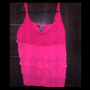 Red Ruffle and Crochet Adjustable Tank Size 18/20